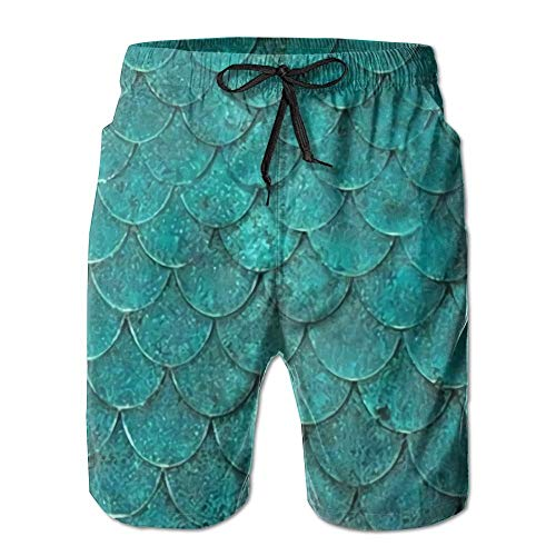magic ship Fish Scales Printing Men's Yoga Board Short, Soft Short Swimming Beach Pants,Surf Sweat Pants with Pockets Medium Cotton Knit Romper