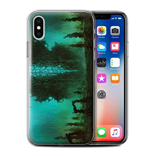 Offiziell Chris Cold Hülle / Gel TPU Case für Apple iPhone X/10 / Elektro-Sturm Muster / Fremden Welt Kosmos Kollektion Alien Landschaft
