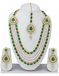 Fashion Diwani Gold Plated Kundan Necklace Fancy Party Wear Wedding Necklace Set With Earrings For Women & Girls