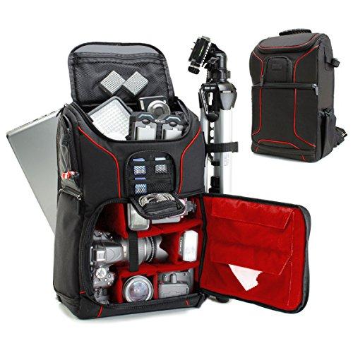 USA Gear DSLR Kamerarucksack, Foto Rucksack Anti-Shock Kameratasche mit 43,18 cm Laptop-Tasche, Wasserdichte Abdeckung, Verstellbare Linse Lagerung & Stativhalter - Rot Olympus Pentax Sp