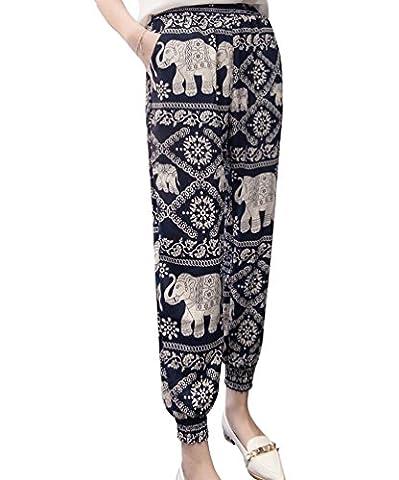 NiSeng Women's Printed Harem Chiffon Loose Baggy Trousers Ladies Print Pattern Harem Pants Black Elephant 2XL