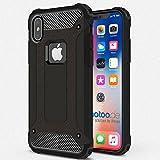 gahatoo iPhone X [10] Outdoor Case Hülle Ultra Slim [Hybrid TPU Silikon Hardcase] Handyhülle in Schwarz [Tactical Military Defender]