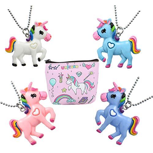 FSMILING 4 pcs Collar Unicornio con Monedero para Piñata, Fiesta Unicornio, Artículos de Fiesta de Cumpleaños Regalo para Niños Niñas (4 Unicornio Fiesta)