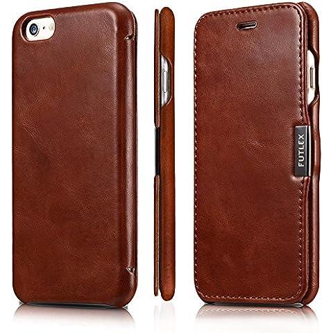Funda tipo folio FUTLEX de piel auténtica estilo vintage para iPhone 6 / 6S - Marrón – Diseño único – Ultra fina - Corte y diseño precisos – Hecha a