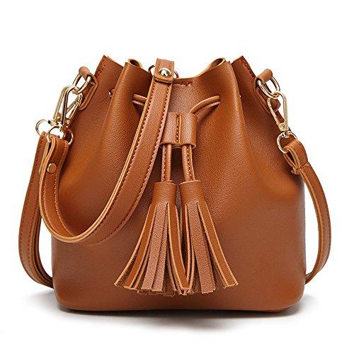 Kordelzug Cross-body-tasche (Sheli Frauen Kleine Kordelzug Hobo Handtaschen Quaste Taschen Crossbody Handtasche Braun)