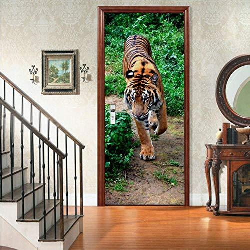 Folie 3D Diy Art Tiger Door Stickers Wallpaper For Living Room Bedroom Pvc Self Adhesive Waterproof Mural Home Decor Decals Tiger Wallpaper Set