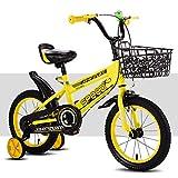 Kinder Fahrrad,Stützrad Bike Mit Korb [männer und Frauen] Kinder Ca. 3-6 Jahre alt 12 14 16 18 Zoll-Gelb 47.6inch