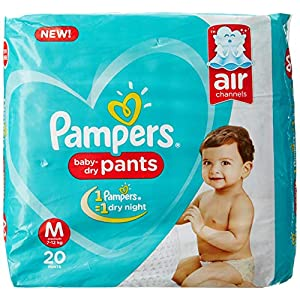 Pampers Combo Pack, Medium Size Diapers Pants (76 count) and Fresh Clean Baby Wipes (64 count)