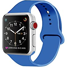 ZRO para Apple Watch Correa, Silicona Suave Reemplazo Sport Banda para 42mm iWatch Serie 3/ Serie 2/ Serie 1, Talla M/L, Azul Real