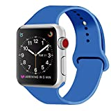 ZRO für Apple Watch Armband, Soft Silikon Ersatz Uhrenarmbänder für 42mm iWatch Serie 3/ Serie 2/ Serie 1, Größe M/L, Tief Blau