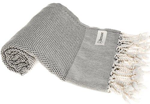 Bersuse 100% cotone - asciugamano turco ventura - certificato oeko-tex - peshtemal fouta per bagno e spiaggia - pestemal assorbente, ultra-morbido, asciugatura rapida - 95x175 cm, antracite
