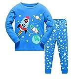 Qtake Fashion Jungen Schlafanzug Blau Marineblau Gr. 2-3 Jahre, Pajamas1