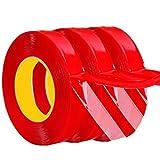 Yinew clair ruban adhésif double face résistant aux intempéries Heavy Duty Colle Super Strong ruban adhésif double face pour l'industrie, Auto et ménagers, Red, 15mm * 3m