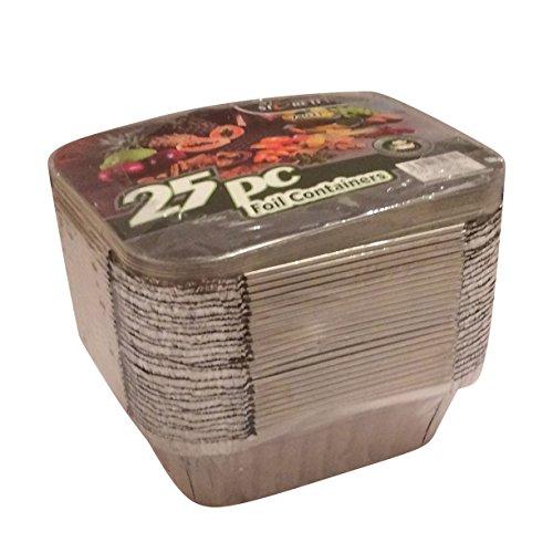 Contenitori da asporto, vassoi e vaschette da asporto per alimenti, in alluminio, con coperchio, 25pezzi