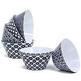 COM-FOUR® 8x Schalen aus Melamin in verschiedenen blau/weißen Mustern, Müslischalen, Ø 14,5 cm (08 Stück - Schalen)