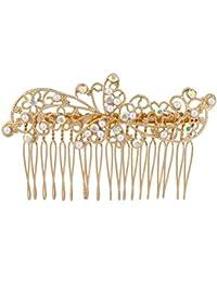 LUX Zubehör Gold Ton ab Kristall Strass Faux Perle Blume Flower Leaf Blatt Haarkamm