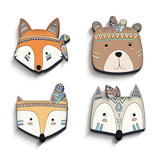 decowall-baby-nursery-kids-playrooms-set-of-4-with-3d-effect-cute-animal-heads-in-top-quality-on-10m