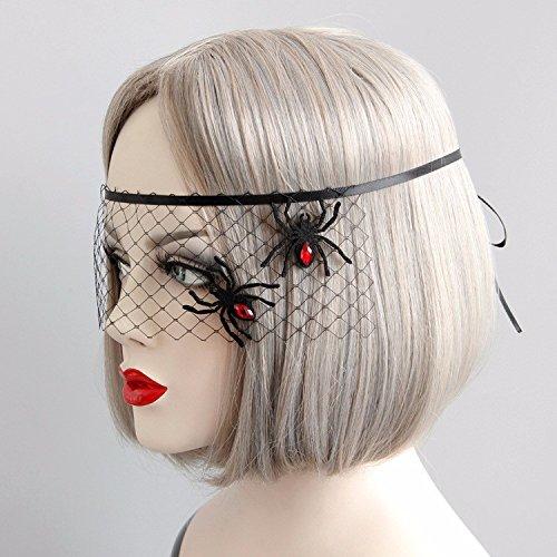 GOZAR Black Lace Cosplay Masquerade Mask Spider Evil Maske (Spider Edelstein Ohrringe)