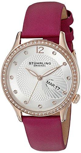 Stuhrling Original Symphony dicono le donne s-Orologio donna al quarzo con Display analogico e cinturino in pelle, 801,02, colore: rosa