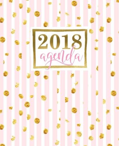Agenda: 2018 Agenda settimanale italiano : 19x23cm : Strisce rosa con macchie dorate: Volume 13