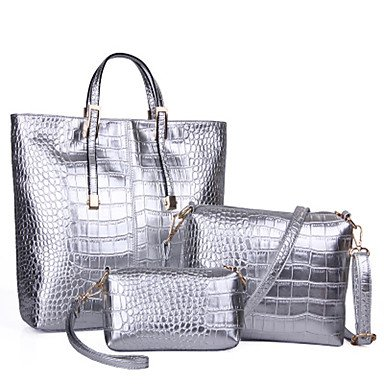 La donna pu Casual / Ufficio & Carriera / Shopping Tote Bag / serie oro / argento / nero,argento Silver