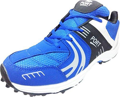 Port Mens PU Blue Razzor Cricket Sports Shoe (9 IND/UK)