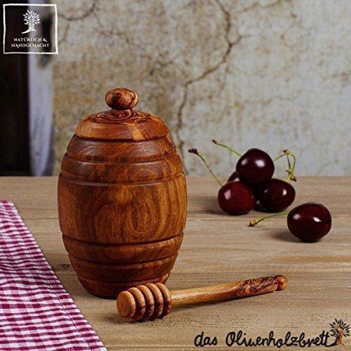 Honigtopf mit Deckel + Honiglöffel aus Olivenholz