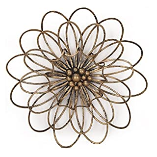 Adeco Flower Urban Design Metal Wall Decor for Nature Home Art Decoration & Kitchen Gifts