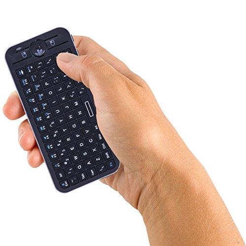 Amazingdeal 16 V kabellose Sprachfernbedienung, QWERTY-Tastatur, integriertes Mikrofon und Kopfhörer für Smart TV HTPC