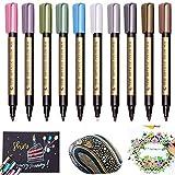 OUTANG Metallic Paint Marker Pens 10 Farblack-Permanentmarker für Geschenkkarten, DIY-Fotoalbum, Felsmalerei, Glas, Metall, Holz