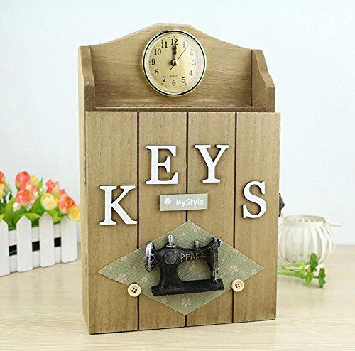 MIAO@LONG Massivholz Schlüsselschrank Tue Alt Möbel Kunsthandwerk Schlüsselkasten 6 Haken 28.5 * 18 * 6 CM,Yellow (Metall-lagerung-lock-box)