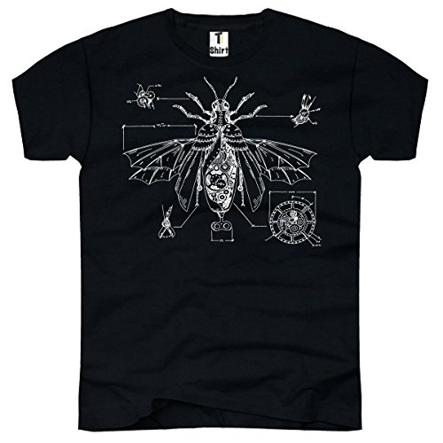 TEE-Shirt, Herren T-Shirt mit Aufdruck. Coole Motive.T-Shirt mit Tier Druck. Insekten Motiv. Größe XXL,Schwarz