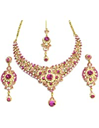I Jewels Ethnic Collection Gold Plated Brass Aloy Elegantly Hand Crafted Stone Set for Women (M4016Q)