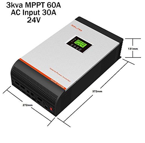 Wechselrichter, reine Welle, hybrid, 3kVA / 5kVA, 24V / 48V, Laderegler 50A MPPT / 60 A Ladegerät 30A und 60 A 3Kva 24V Regulador MPPT 60A Cargador 30A Grau/Rot