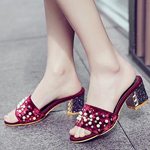 Aiyoumei Pantofole Pantofole Bordeaux Muli Donna Donna Muli Bordeaux Aiyoumei Aiyoumei APA4rxwY