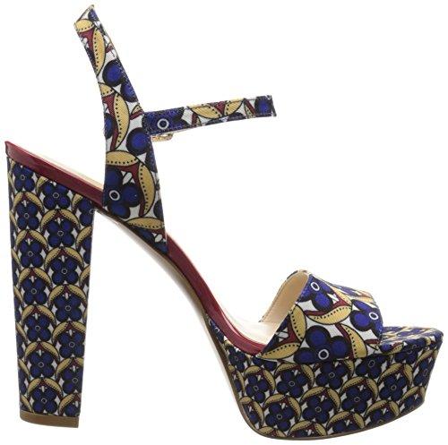 Nine West Garofano tessuto Platform Sandal Blue Floral Pattern