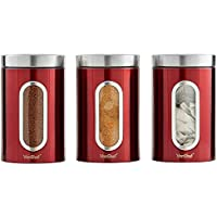 VonShef 3-teiliges rotes Dosenset für Tee, Kaffee & Zucker mit Fenster – Edelstahl
