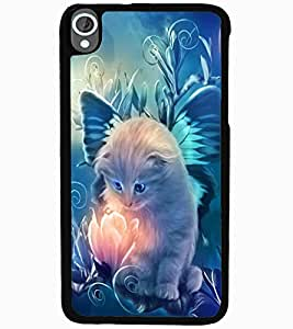ColourCraft Lovely Angel Cat Design Back Case Cover for HTC DESIRE 820