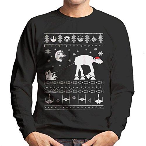 Santa With AT AT Reindeer Star Wars Christmas Knit Men's Sweatshirt (Star Wars Weihnachten Pullover)