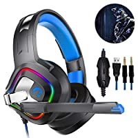 Jerome10Dan Gaming Headset, A66 Gaming Headset, Stereo Gaming Headset Noise Cancelling, LED Lights Earmuffs Memory, Works with Xbox One, PS4, Nintendo Switch, PC Mac Games