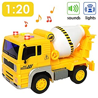 Buyger Cement Mixer Truck with Lights and Sound Friction Powered Construction Engineering Toy Car Inertial Vehicle for Kids Boys Girls