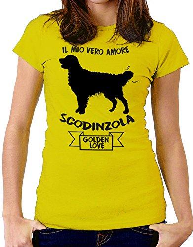 Tshirt Il mio vero amore scodinzola - golden love - dog - humor - tshirt simpatiche e divertenti - Tutte le taglie by tshirteria Giallo