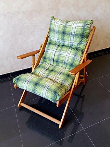 Poltrona sedia sdraio harmony relax (verde) in legno pieghevole cuscino imbottito soggiorno cucina giardino salone divano