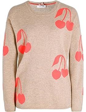 Cocoa Cashmere Da Donna maglia di stampa cashmere ciliegio Beige