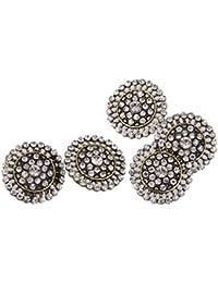 Cinco Pieza claras brillantes perlas flores botón Botones Shank verzierung