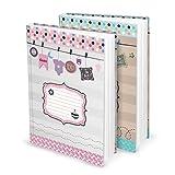 Geschenk-SET 2 XXL Baby-Tagebuch Kinder-Tagebuch Baby-Album Kinderbuch für Zwillinge oder Geschwister rosa pink hell-blau türkis DIN A4 zum Selberschreiben Mädchen Junge