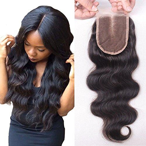 sunwell dentelle fermeture humains brésiliens vierges Remy Hair Body Wave partie libre 8,9 x 10,2 cm Fermeture en dentelle avec cheveux de bébé peut être blanchi Densité 130% Couleur naturelle 20,3 cm -20 \\