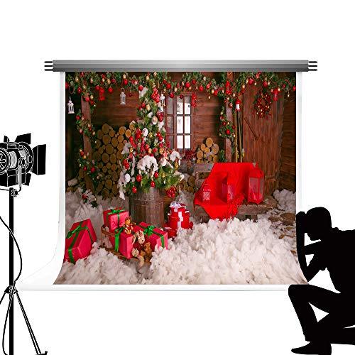 Kate 10x10ft / 3x3m Christmas Backdrop Holzwand Hintergrund Rot Cartoon Fotostudio Requisiten X-Mas Baumschmuck Foto Hintergrund für Familie Fotografie Studio - Foto-baumschmuck