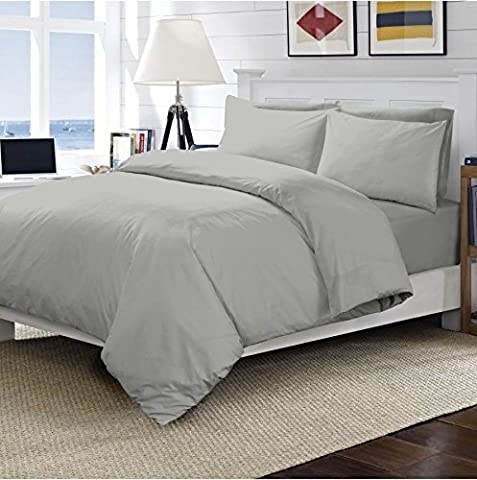 Sunshine Comforts® Flat Bed Sheet 100% Egyption Cotton Plain 200 Thread Count Grey Colour (King)