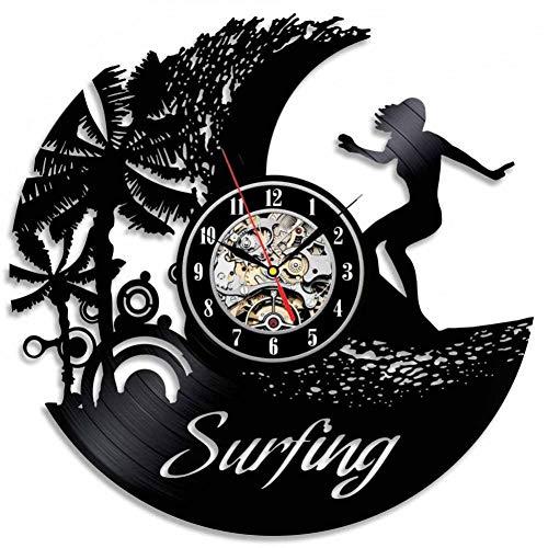 DFRTY Surfer Bestes Geburtstagsgeschenk Vinyl Wanduhr Zifferblatt Optisch sicher Leise als Geschenk -